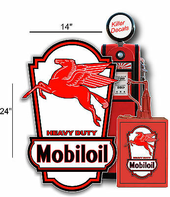 "24"" X 14"" Mobil Mobiloil Sign Lubster Side Decal Oil Can Gas Pump Gasoline"