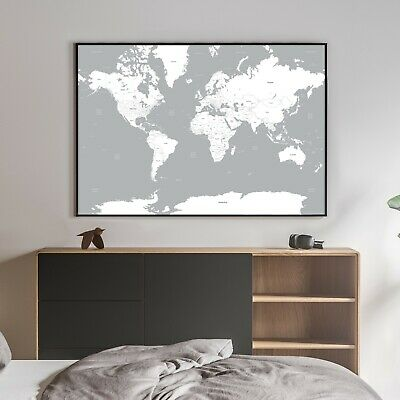 Map Of The World A0 Large Grey White Wall Hanging Poster Print - High Quality