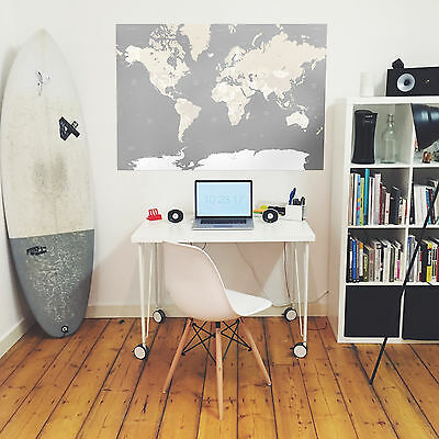 """A0 Map Of The World Large Grey White Wall Hanging Poster Print - Huge 33"""" x 47"""""""