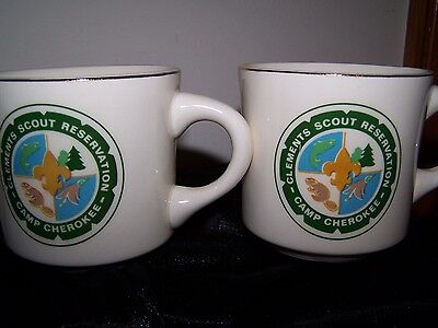 Vintage Camp Cherokee Clements Scouts Reservation Mugs~~ Gold Trim~ Set of 2