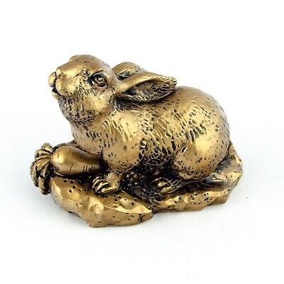 Chinese Zodiac Golden Rabbit Statue Figurine Feng Shui Animal Bronze Color 4in