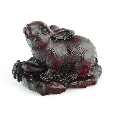 Chinese Zodiac Rabbit Statue Bunny Figurine Feng Shui Animal Redwood Color 4in