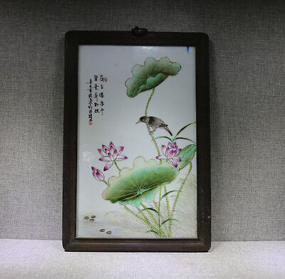 Hanging panel old Chinese wood inlay porcelian bird lotus flower leaf w sign