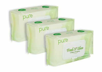 Pure Fresh N' Clean Natural Face, Hand, and Baby Wet Wipes, Unscented and Alc...