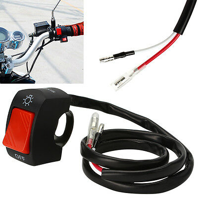 "7/8"" Handlebar With ON/OFF Button Connector Black Motorcycle Light Switch"
