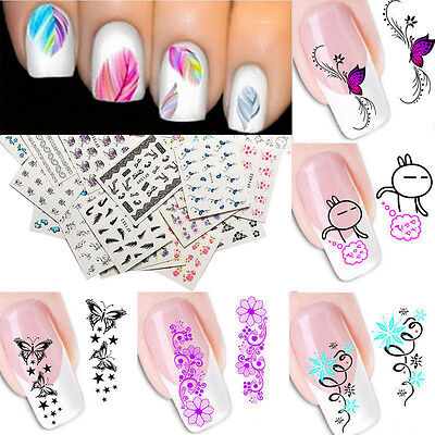Nail Art Water Transfer Sticker Flower Cat Stickers Decals Tips Decoration Bulk