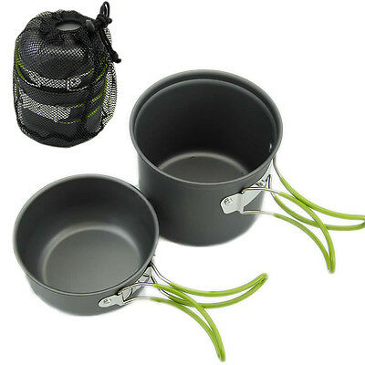 Portable Hiking Camping Cooking Nonstick Bowl Pots Pans Cookware Outdoor Set Hot