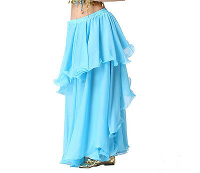 3 layers Belly Dance Chiffon Long Skirt Dress with Circle Spiral Blue