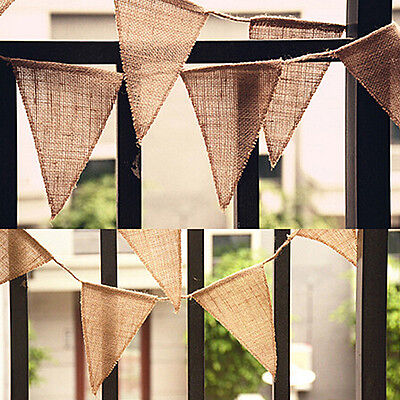 Wedding Party Decor Vintage Jute Hessian Burlap Flags Bunting Banner Shabby Chic