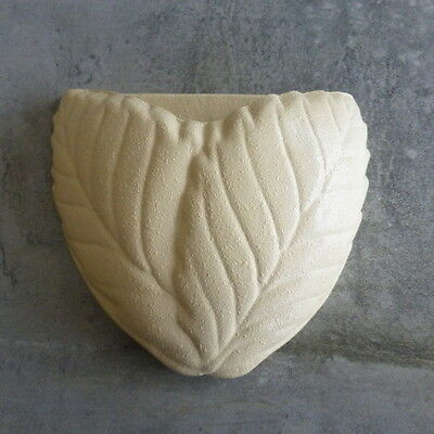 Mid Century Wall Pocket Vase Leaves Textured Finish numbered on back Vintage