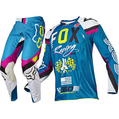 Fox Racing 2017 Mx NEW 360 Rohr Teal FLO Yellow Jersey Pants Motocross Gear Set