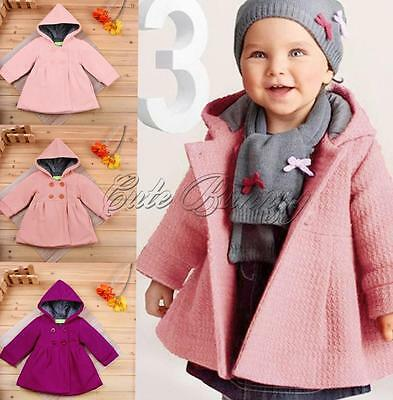 Baby Toddler Girls Warm Hoodie Clothes Kids Coat Top Wind Jacket Hooded Outwear