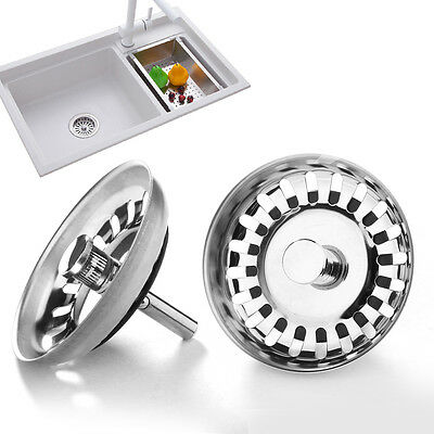 New Replacement Kitchen Sink Strainer Waste Plug Chrome On Stainless Steel