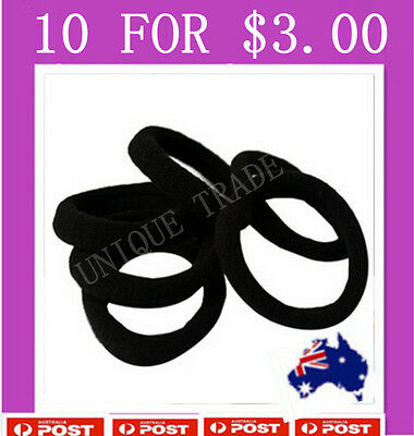 10 x Black Snagless Cotton Hair band Elastic Hair Ties Rope Ponytail Holder