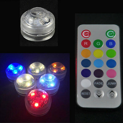 NEW 5PCS (Lot) Pool Spa Bath LED Lights Remote Waterproof Underwater Battery