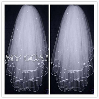 White Or Ivory Wedding Bridal Veil Elbow Length Satin Edge With Comb UK
