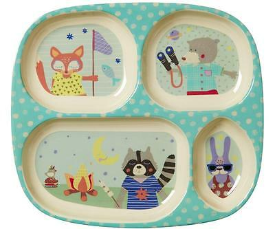 NEW RICE Melamine Divided Childrens Plate - Boys Happy Camper