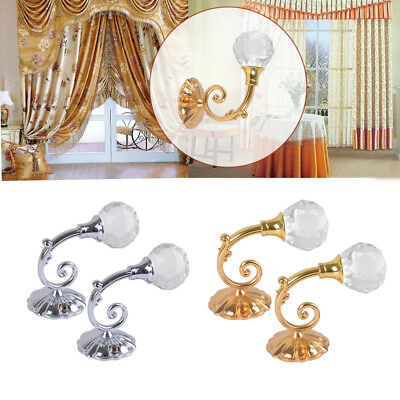 2x Metal Crystal Glass Curtain Holdback Wall Tie Back Hooks Hanger Holder