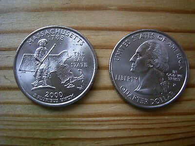 """2000p  usa state  quarter """"massachusetts"""" dollar coin collectable"""