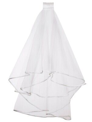 Ladies 2 Tier Wedding Veil With Comb - Edged Ribbon Around The Netted Veil Hen