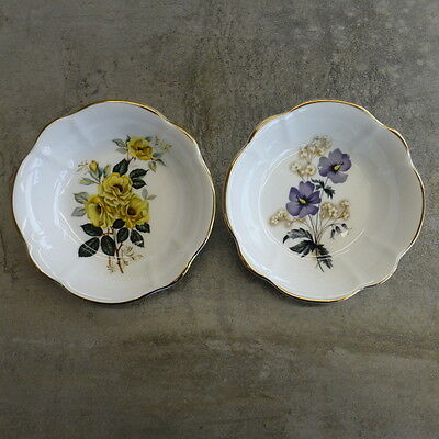 2  Crown Luton small bowls bone china Made in England Flowers Gold trim Floral