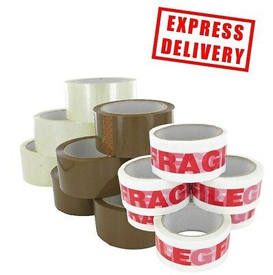 Parcel Packaging Tape *48Mm X 66M* (2 Inch) Buff Brown Clear Fragile Box Sealing