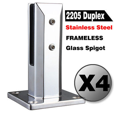 4 X Frameless Stainless Posts Spigots for Glass Balustrade Railing Fence Clamps