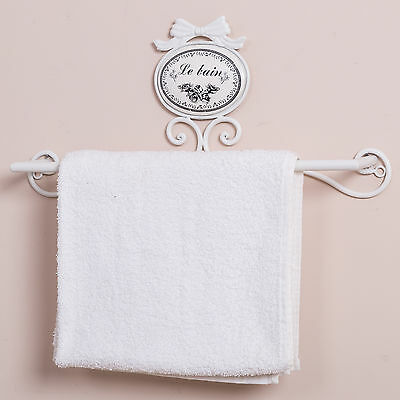 White Towel Rail Bathroom Holder French Shabby Vintage Chic Home WC Accessory