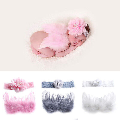 Baby Newborn Angel Flower Headband+Wing Feather Costume Photo Photography Prop