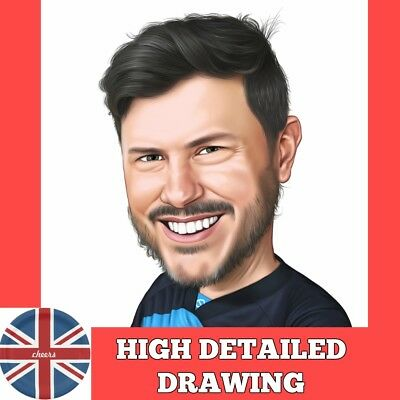Digital caricature from photo realistic high detailed drawing 100% hand drawn