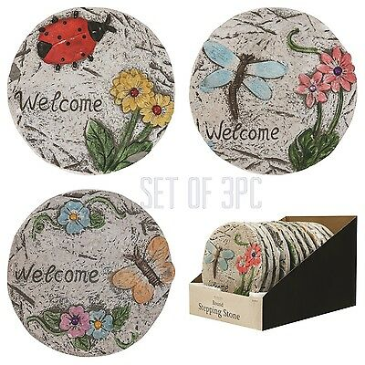 3 x MOSAIC GARDEN CONCRETE STEPPING STONE DECORATION