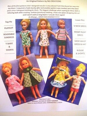 NG Creations Sew Pattern #PP86 Play Date Outfits fits Mattel Tutti & Todd Dolls