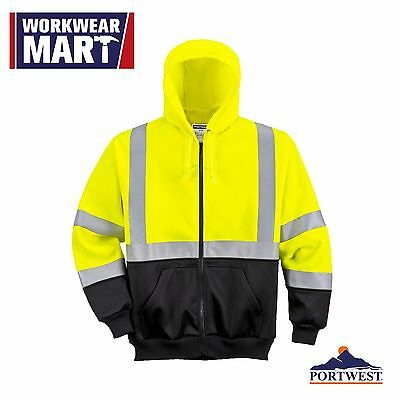Hi Vis Hoodie Sweatshirt Zipped Class 3, High Visibility Safety Reflective UB315