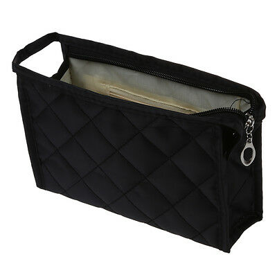 Portable Black Girls Grid Pattern Cosmetic Make Up Small Zippered Bag Case DT