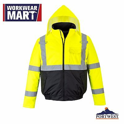Hi Vis Jacket Rain Waterproof Bomber Reflective Coat Padded S-5XL ANSI US363