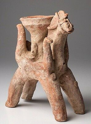 Ancient Amlash Clay offering Bowl on Horseback • CAD $3,162.12