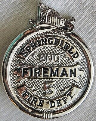 Obsolete 1930's - 40's Springfield, Illinois Fire Dept. Badge for Engine No. 5
