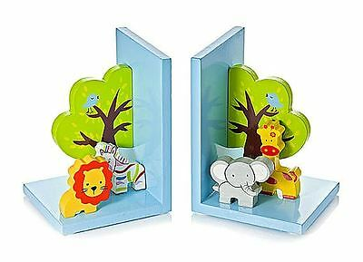 3D Safari Wooden Children's  Animal Bookends Boys Girls Nursery Bedroom