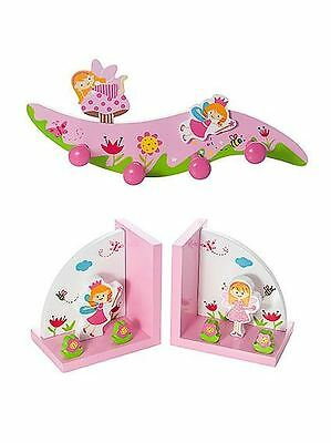 Childrens Kids Fairy Coat Wall Hooks and Bookends Book Ends Girl Nursery Bedroom
