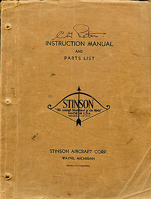 """Stinson Instruction Manual And Parts List For The Model """"s"""" Airplane"""