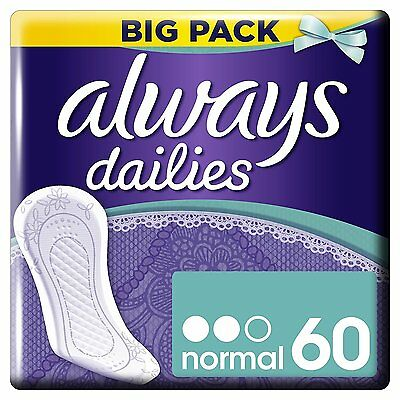 Always Dailies Panty Liners Normal, 60 Pads NEW