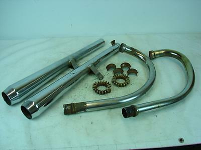 Honda Cb350 Cb 350 Orig Head Pipes & After Mkt Exhaust Collars Clamps