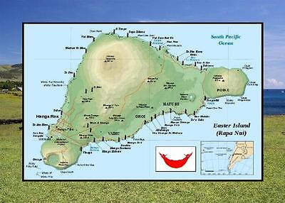 Easter Island Rapa Nui Map UNESCO New Postcard