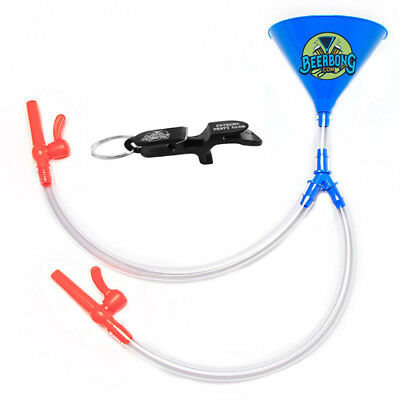 Double Beer Bong - Blue Funnel -  FREE Shotgun Key Chain - Made in USA!