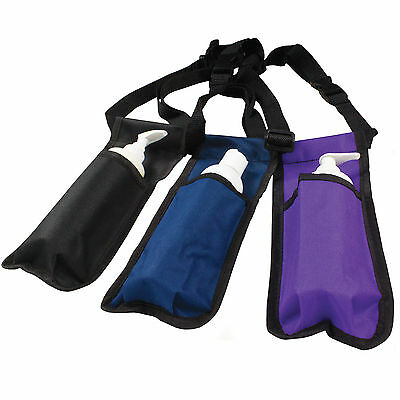 Massage Lotion Bottle Holster in Black, Navy & Purple