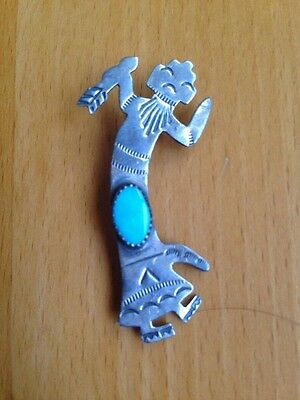 Signed LSP STERLING SILVER TURQUOISE RAINBOW MAN YEIBICHAI BROOCH PIN Kachina
