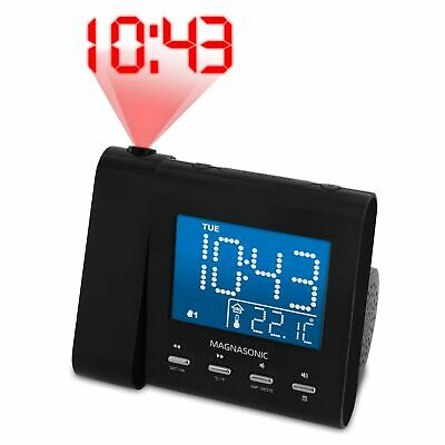 Electrohome Projection Alarm Clock Radio with Battery Backup & Dual Alarm
