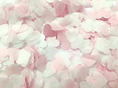 Pink & White Heart Wedding Confetti - Biodegradable. Wedding table decoration.