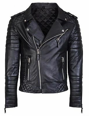 Men's Motorcycle Quilted Soft Sheepskin Leather Black Slim Fit Biker Jacket