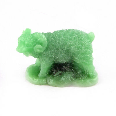 Chinese Horoscope Zodiac Sheep Statue Ram Figurine Feng Shui Animal Jade Color